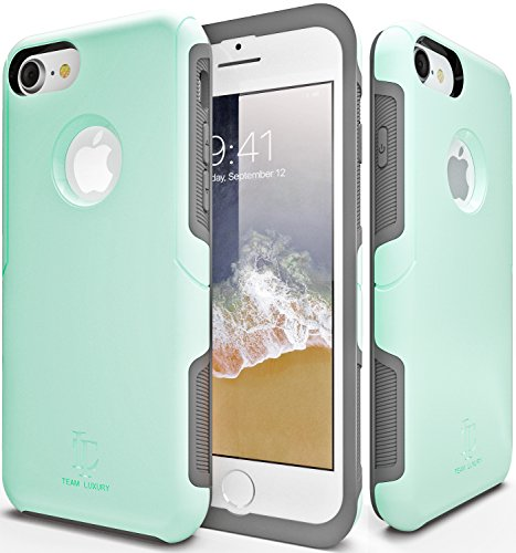 iPhone 8 Case, TEAM LUXURY [Defense-x Series] Turquoise Mint Ultra Slim Double Layer TPU + PC Impact Absorbent Protective Case - for Apple iPhone 7 & iPhone 8 (Soft Mint)