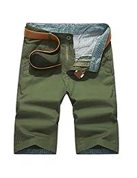WSLCN Men's Cargo Shorts Casual Burmudas Shorts Business Chino Beach Pants