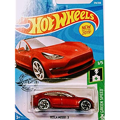 Hot Wheels Tesla Model 3 White and Red 172/250 2 Car Bundle Set: Toys & Games