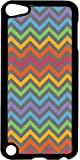Colorful and Grey Chevrons- Case for the Apple Ipod 5th Generation-Hard Black Plastic