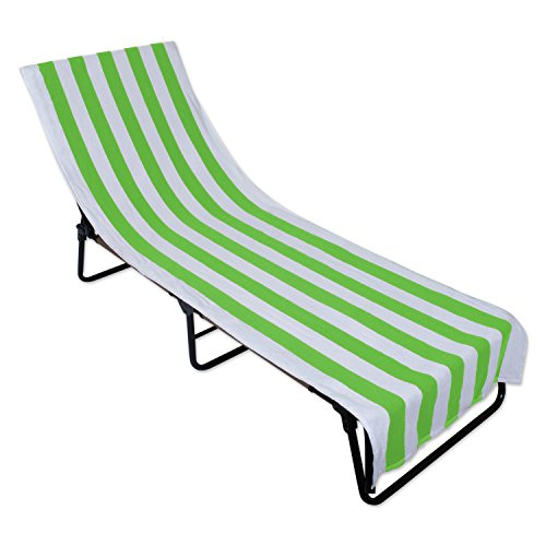 J&M Home Fashions Terry Cotton Stripe Beach Lounge Chair Towel With Fitted Pocket Top, 26x82, Soft Absorbent and Dry Fast for Swimming Pool, Beach and Spa-Green Microfiber Two Pocket Tote