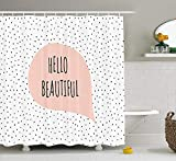 Blush Colored Shower Curtain PAUSEBOLL Hello Romantic Motivational Message in a Pastel Colored Speech Balloon Hand Drawn Dots Cloth Blush Black Shower Curtain Bathroom Hooks,Mildew Resistant Waterproof Polyester Curtain