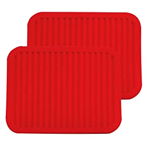 """ME.FAN 9"""" x 12"""" Big Silicone Trivets - Multi-purpose Silicone Pot Holders, Spoon Rest and Kitchen Table Mat - Insulated, Flexible, Durable, Non Slip Hot Pads and Coasters (2 Set) Red"""