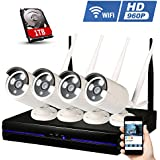 Amgaze 960P Wireless Security Camera System, Wifi 4CH Surveillance Camera Kit, IP Bullet Camera Kit, IP66 Waterproof 65FT Night Vision, 1TB HDD Pre-installed (1.3 MP White)