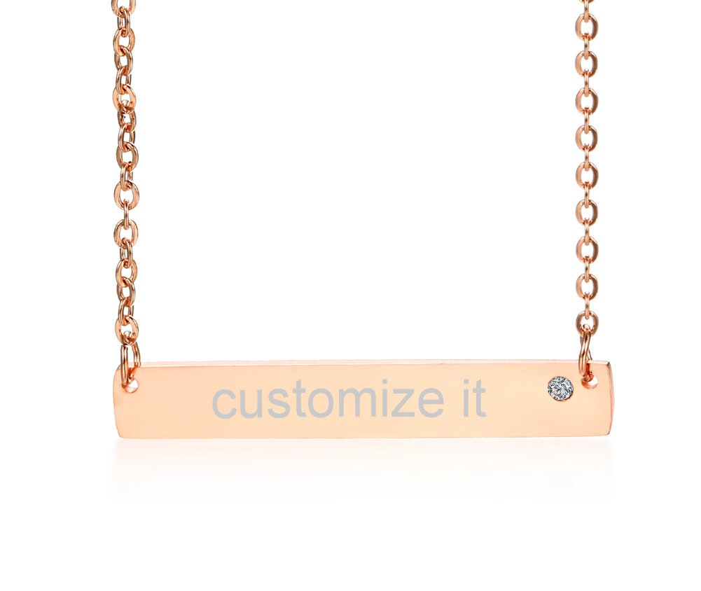 Personalized Custom Name Quote Initial Nameplate Stainless Steel Crystal Rose Gold Plated Layered Vertical Bar Necklace