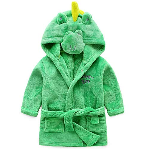 1 Robe - Toddler Kids Hooded Plush Robe Animal Fleece Bathrobe Children Pajamas Sleepwear(Green Dinosaur, 1-2T(Height:31.5