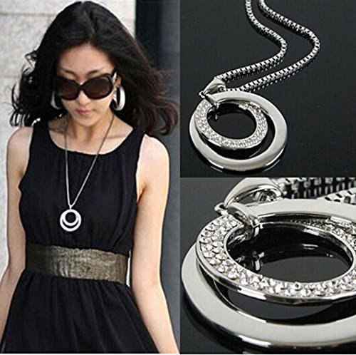 Elevin(TM) Long Chain Women Fashion Crystal Rhinestone Silver Plated Pendant Necklace Gift ()