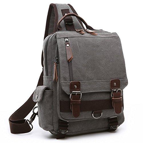 BAOSHA XB-14 Canvas Men Sling Backpack Bag Cross Body Bag Messenger Shoulder Bag Travel Chest Bag (Grey)
