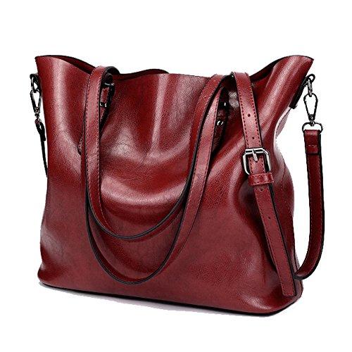 HH HOFNEN Vintage Tote Shoulder Bag PU Leather Top Handle & Cross Body Handbags (Burgundy)
