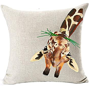 Andreannie Nordic Simple Watercolor Animal Adorable Giraffe Eating Grass Grazing Cotton Linen Throw Pillow Case Cushion Cover New Home Decorative Square 18 X 18 Inches