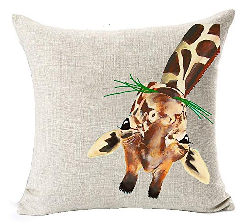 mple Watercolor Animal Adorable Giraffe Eating Grass Grazing Cotton Linen Throw Pillow Case Cushion Cover NEW Home Decorative Square 18 X 18 Inches Christmas Gift (Giraffe Pillow)