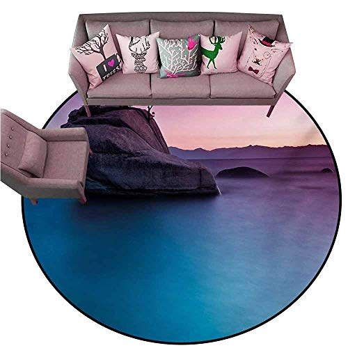 (Large Floor Mats for Living Room Colorful Nature,Bonsai Rock in Lake Tahoe Tropical Surreal Scenery Exotic Vivid Colors Artwork,Purple Grey Blue Diameter 60
