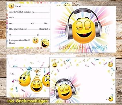 Juego De 10 Smiley De Invitaciones Con Sobres De Smiley