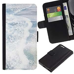 LASTONE PHONE CASE / Lujo Billetera de Cuero Caso del tirón Titular de la tarjeta Flip Carcasa Funda para Apple Iphone 6 PLUS 5.5 / Waves Summer Sea Surf Sun White