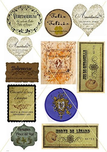 Harry Potter Halloween Potion Vintage Apothecary Inspired Birthday Party Label Stickers Scrapbooking Crafts PLUS BONUS STICKER SHEET! -