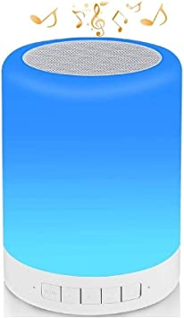 Color Bedside Table Light Touch Control Color Mixing Speakerphone//TF Card//AUX-in Supported Seven Colors Night Light Bluetooth Speaker Portable Bluetooth Speakers Smart Touch Control Color Changing Stereo Subwoofer