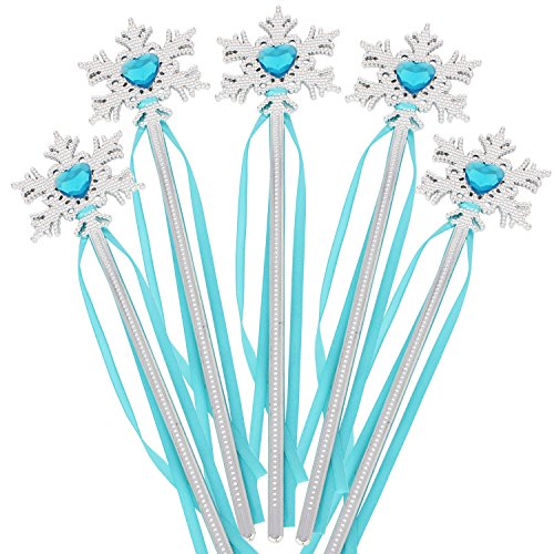 XiangGuanQianYing Princess Wands Snow Queen Princess Wand Snowflake Wands (Silver Sky Blue 10 Pack)