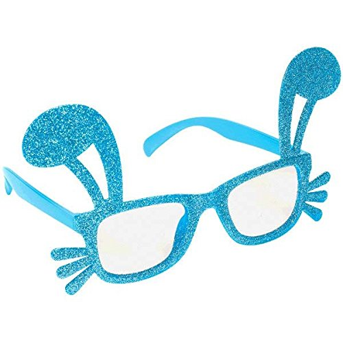 [Egg-stra Special Easter Bunny Ears and Whiskers Glitter Glasses Party Accessory, Plastic, 4