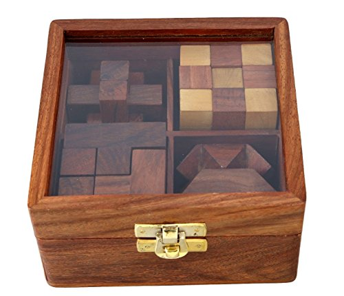 4-in-One Wooden Puzzle Games Set - 3D Puzzles for Teens and Adults - Includes Wood Interlocking Blocks, Diagonal Burr,Soma Cube and Snake Cube in Storage Box ()