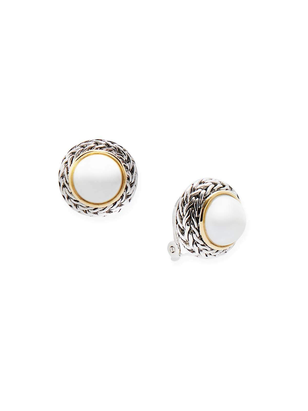 Silver Tone and Pearl Tipped with Gold Clip On Earrings by Misook