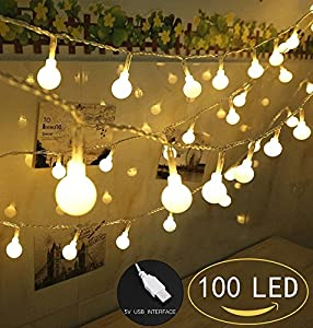 100 led globe string lights ball christmas lights indoor outdoor decorative light usb powered 39 ft warm white light for patio garden party xmas - Christmas Light Ball