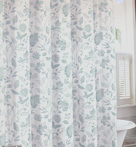 Tommy Bahama 100% Cotton Aqua Blue Floral Print Shower Curtain