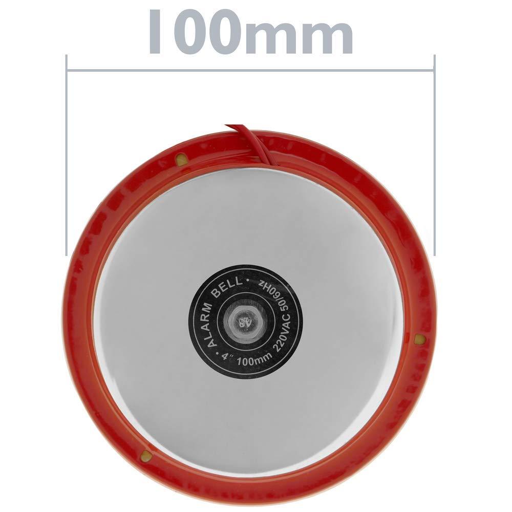 BeMatik Timbre el/éctrico 220 Vac de Campana cromada 100mm para Alarma