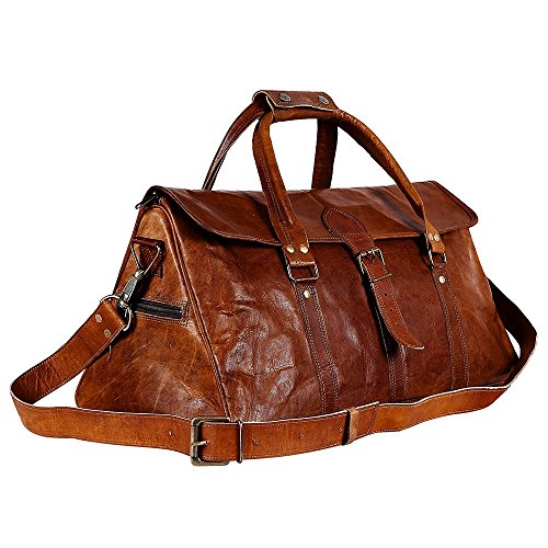 3396e393545f6f Galleon - Urban Dezire 20 Inch Vintage Leather Duffel Travel Gym Sports  Overnight Weekend Duffel Bag