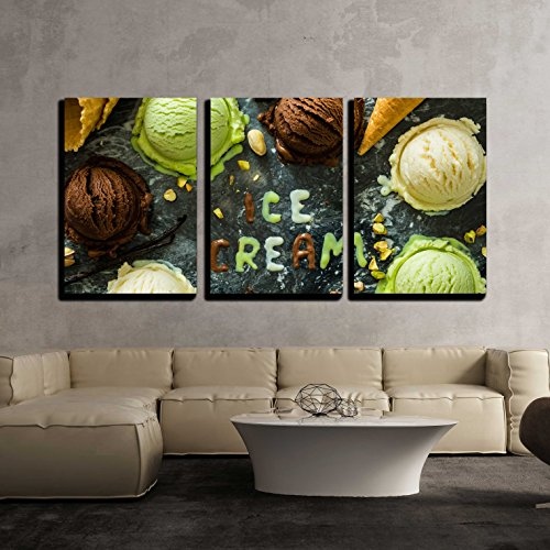 Selection of Colorful Ice Cream Scoops in White Bowls Copy Space x3 Panels