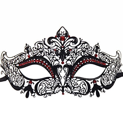Signstek Glossy Metal Filigree Phantom Half Eye Mask - Red Masks For Masquerade Ball