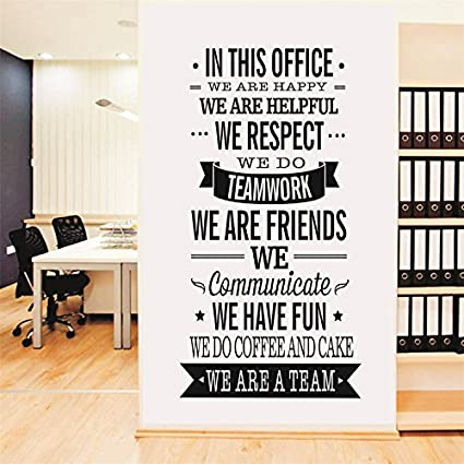 Yanqiao Work Team Slogan English Words Wall Stickers For Office Wall Decoration Removable Vinyl Decal Art Home Decoration Size 22 4 47 2 Black