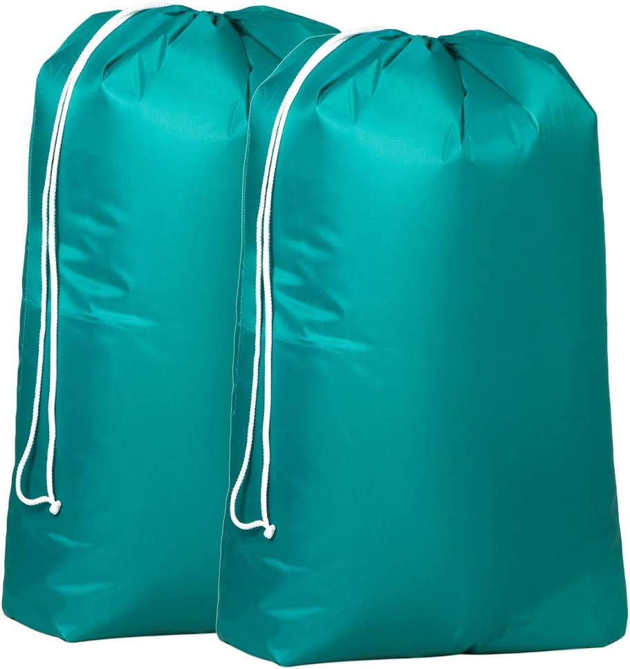 JUNFA Large Laundry Bag Drawstring Clothing Storage Bag 6 Colors to Choose Durable for Travel Camp College Polyester 27x39 Inches 2 Pack (Light Green-2, 2 Pack)