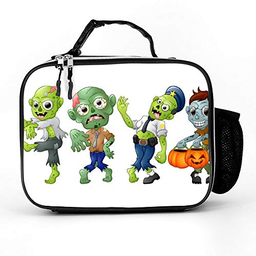 (Uclipers PU Leather Lunch Bag For Women, Men & Kids Zombie Cartoon Halloween Costumes Lunch Box Washable With Extra Pocket Zippers)