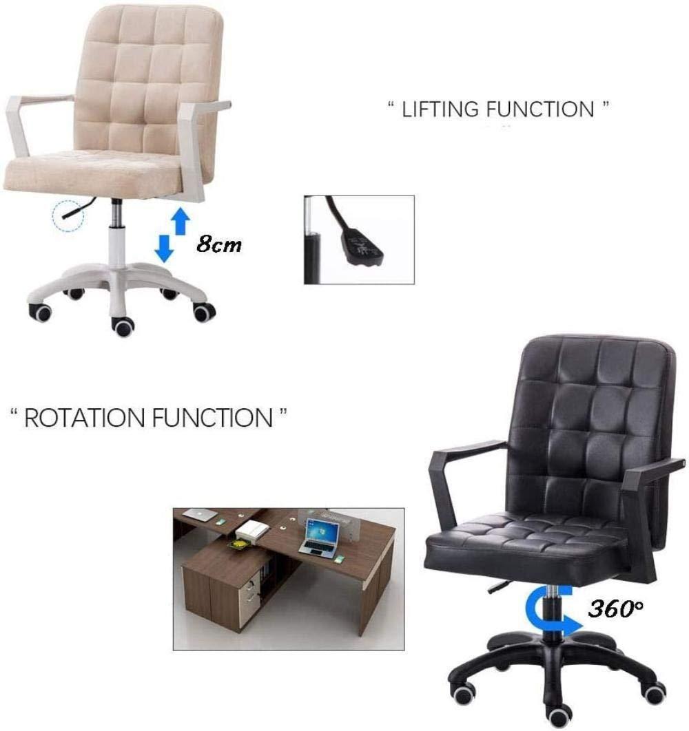 Tyg hem kontor dator skrivbord stolar svängbar pall stol rullar, 8 cm justerbar höjd, nylon bas fåtölj (färg: svart) Svart