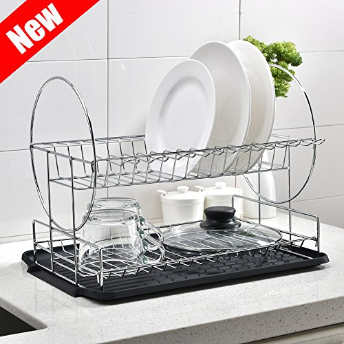 Top Mount Drainboard (POPILION Premium Steel Two Tier Dish Drying Rack, Dish Drainer with DrainBoard, Black)