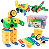 STEM Building Toys for Boys or Girls - 163pk Educational Building Gear Toys for Kids, Montessori Learning Toys for Toddlers Age 3 4 5 6 7 8 Yrs Up