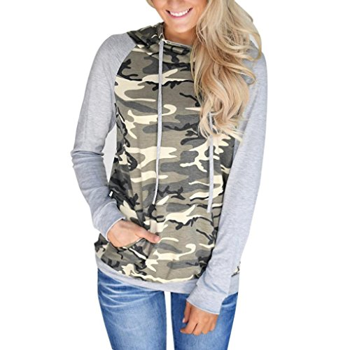 Hot Sales! SINMA Women Casual Hoodies Camouflage Print Pocket Pullover Sweatshirt (S, Camouflage) for $<!--$11.89-->
