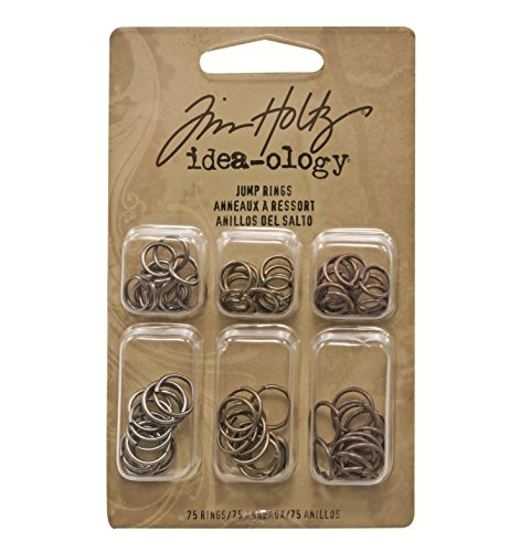 Metal Jump Rings by Tim Holtz Idea-ology, 75 Rings per Pack, 36 of the 5/16 Inch and 39 of the 3/8 Inch, Antique Finishes, TH92726 ()