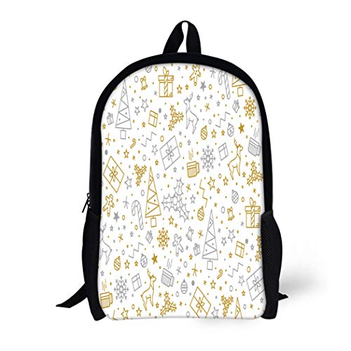 Pinbeam Backpack Travel Daypack Yellow for Christmas on Gold Beautiful Pattern Luxurious Waterproof School Bag ()