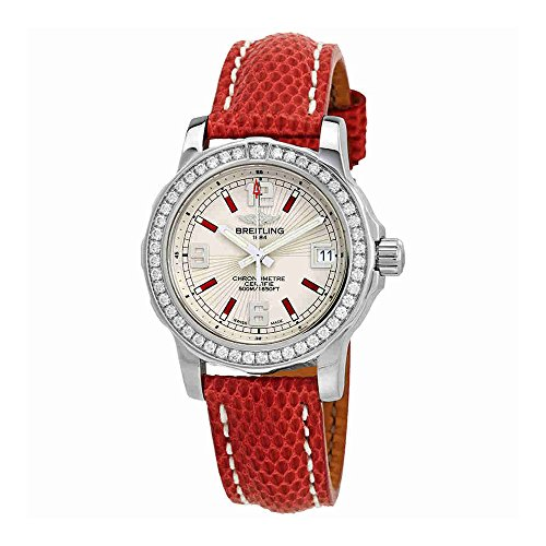 Breitling Colt Silver Dial Ladies Lizard Leather Watch A7738753-G761RDZT