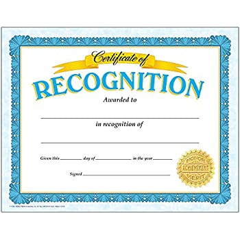 certificates of recognition  Amazon.com : Trend Enterprises Certificate of Recognition, 30 per ...