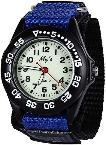 子供用スポーツ用防水腕時計。読みやすい数字と針が付いたおしゃれなLEDウォッチは、5歳から15歳のお子様に時間を区別する方法を教えるのに最適です。 10 X 1.3 X 0.4 IN サファイアブルー