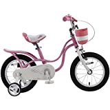 Royalbaby RB14-18P Little Swan Girl's Bike with basket, 14, 16 or 18 inch girls bike with training wheels or kickstand, gifts for kids, girls' bicycles