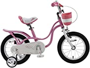 RoyalBaby Girl's Bike Little Swan for 3-9 Years Old 14 16 18 Inch Kids Bike with Training Wheels or Kickstand Basket Girls C