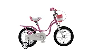 RoyalBaby Little Swan Girl's Bike with basket, 14, 16 or 18 inch girls bike with training wheels or kickstand, gifts for kids, girls' bicycles