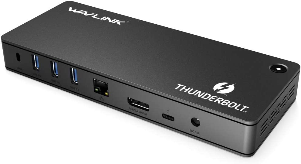 WAVLINK Thunderbolt 3 Docking Station with 85W Charging, Thunderbolt 3 Port, DisplayPort, 4XUSB 3.0 Ports, SD Card Slot, Gigabit Ethernet for MacBook Pro 2019/2018/2017/2016& Specific Windows Laptops