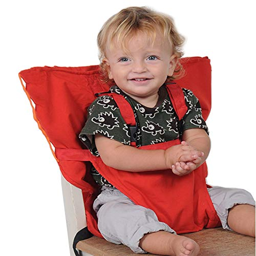 Portable Baby High Chair Safety Seat Harness for Home and Travel Infant Toddler Feeding with Adjustable Straps Shoulder Belt, Hand Wash Cloth and Foldable, Red (Travel High Chair Cloth)