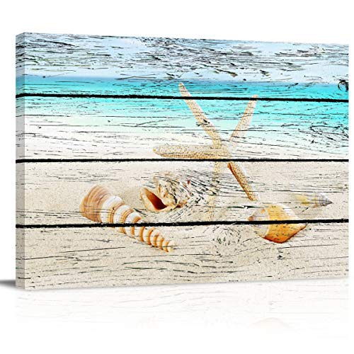 Painting on Canvas Wall Art-Beach Coastal Starfish Seashells on Rustic Vintage Wood Photo Prints Modern Artwork for Bed Bathroom Dining Room Home Decor,Stretched and Framed Ready to Hang,12x16in (Photo Starfish)