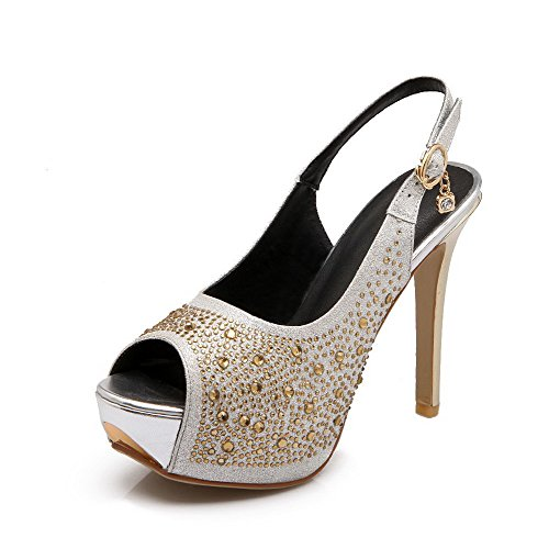 AmoonyFashion Women's PU Solid Pull On Peep Toe Spikes Stilettos Sandals, Silver, - Mall Vegas Stores Fashion In Las