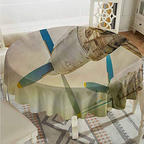 XXANS Spill-Proof Table Cover,Vintage Airplane,Old Wing Aircraft with Propellers at Sunset Snowy Winter Sky Image,Table Cover for Kitchen Dinning Tabletop Decoratio,43 INCH,Brown Blue Yellow